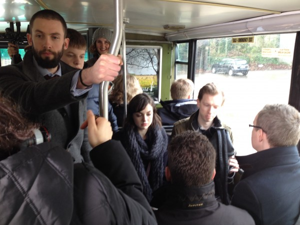 A full bus. Bobby is holding the stand-in baby.